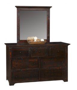 18A - 60 Dresser - 61 x 19 x 36 h + 20B - Mirror with Crown - 36 w x 41 h