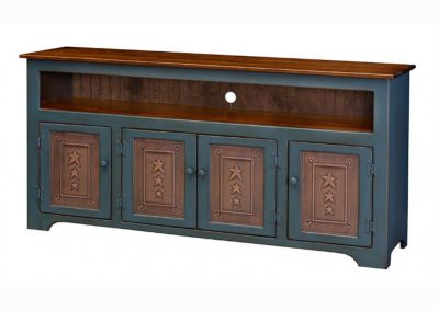 68-4T - Four Door TV Console with Tin - 67 w x 17 d x 32 h